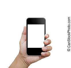 Hand holding smart phone  -   Hand holding a smart phone