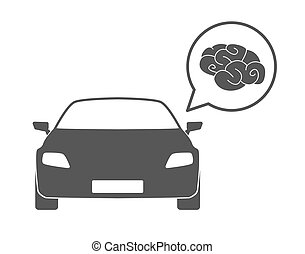 Car with a comic balloon and a brain icon - Illustration of...