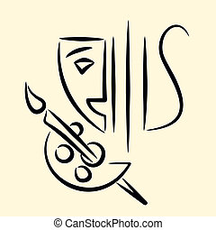 Theatre, music, painting emblem - Vector abstract emblem of...
