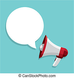 megaphone design over blue background vector illustration