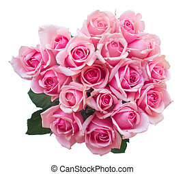 bouquet of fresh pink roses - round bouquet of fresh pink...