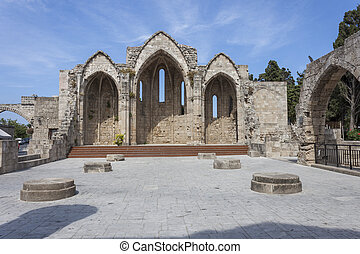 church ruins in the Rhodes old town