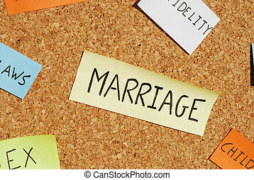 Marriage keywords on a colorful cork board - concept of...