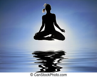 Levitation over the water - Female yogi flying over the...