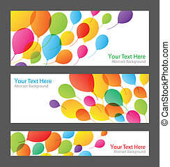 Set of holiday banners with colorful balloons