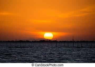 Lake and sky at sunset
