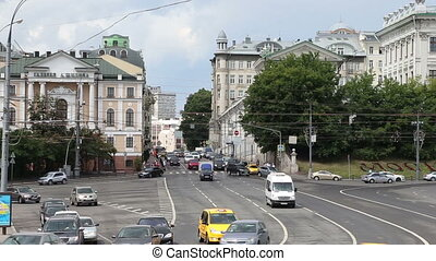 Daily traffic on the streets in the center of Moscow near...