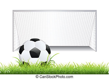 Soccer Goal with Ball - Black and white soccer ball and...
