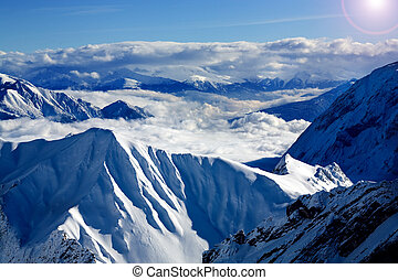 Alps in the winter time. Ski area about Zugspitze peak in...