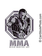 MMA fighter - vector illustration of MMA fighter