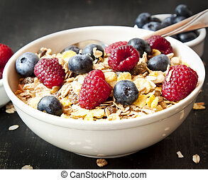 Muesli with Berries for Breakfast - Muesli Bowl for...