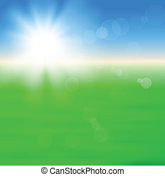 Background with shiny sun over the field - Background with...