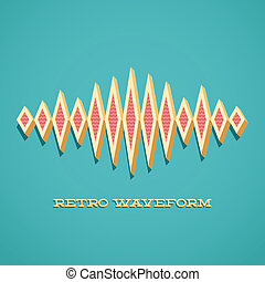 Retro card with sound waveform - Retro card with 3D sound...