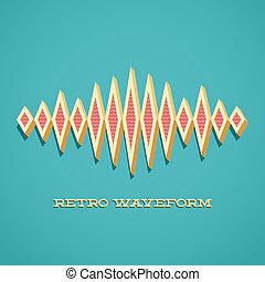 Retro card with sound waveform - Retro card with 3D sound...