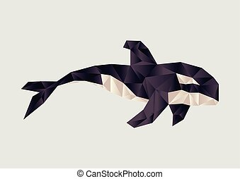 orca - vector illustration of polygonal orca
