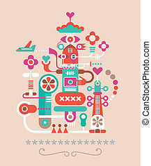 Abstract Art composition. Graphic design. Isolated vector...