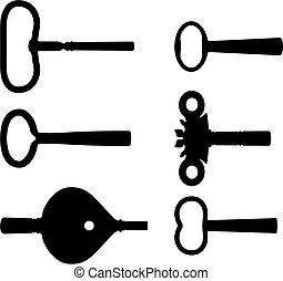 Clock keys - Old clock keys silhouettes