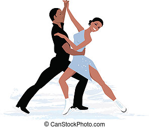 Couple ice dancing - Vector illustration of a couple of...