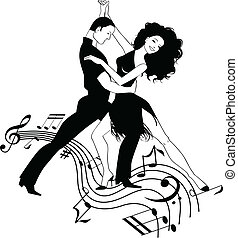 Salsa Music - Couple dancing Latin on a whirly musical...