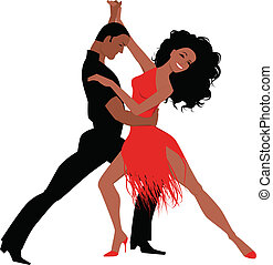 Latin dance - Sexy Latino couple dancing, vector...