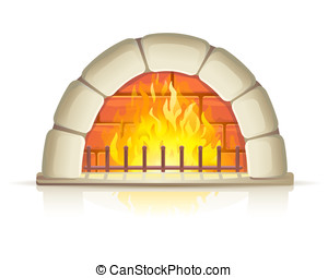 Stone fireplace with fire - Semicircular stone fireplace...