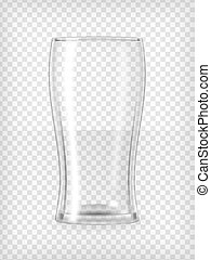 Beer glass - Empty beer glass. Realistic transparent vector...