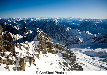 zugspitze - Zugspitze peak view in the winter time. Alps,...