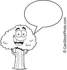 Cartoon Tree with a Caption Balloon
