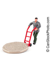 Minature figure moving a coin over white - Minature figure...