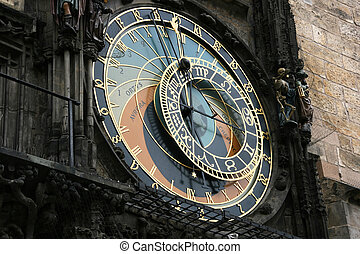 Astronomical clock - Famous astronomical clock in Prague,...