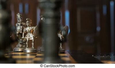 chess figures arc dolly - An arc dolly move along chess...