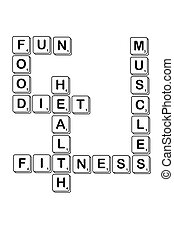 diet crossword made of scrabble letter, isolated on white...