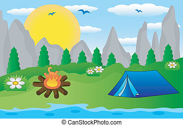 tourist tent on the riverside, vector illustration