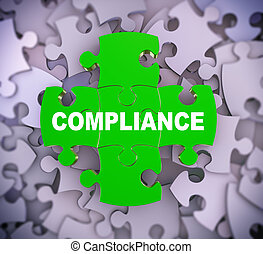 3d puzzle pieces - compliance - 3d illustration of attached...