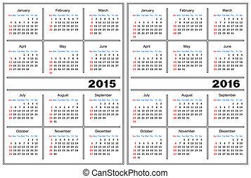 Calendar template 2015, 2016 - Template of a calendar of...