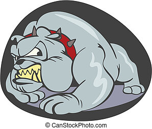 Bulldog cartoon - Cruel dog cartoon with red spiked collar