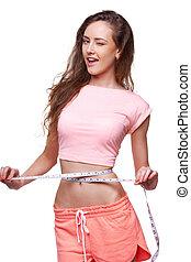 mujer, medición, ella, cintura, medición,...