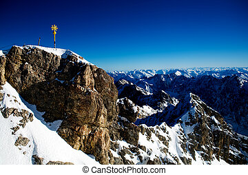 zugspitze - Zugspitze peak in the winter time. Alps,...