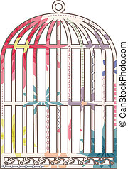 Vintage cage - vector illustration of vintage cage