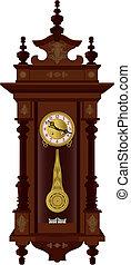 Pendulum clock - Antique wall pendulum clock detailed...
