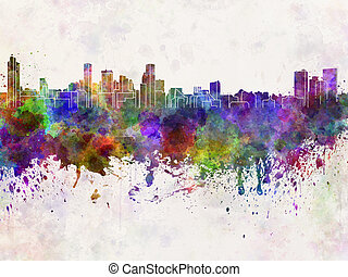 Baltimore skyline in watercolor background