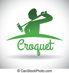 croquet design - croquet design over gray background vector...