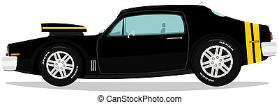 Muscle car - Vector illustration of funny muscle car