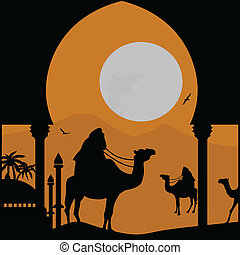 Orient landscape with bedouin and mosquee on sunset, vector...