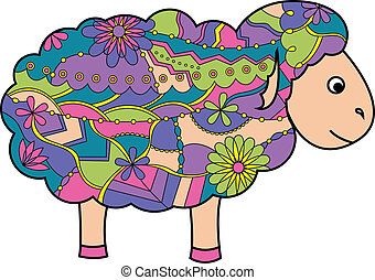 Colorful sheep - vector illustration of colorful sheep