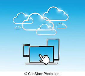 cloud computer electronics illustration design over a white...