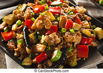 Homemade Kung Pao Chicken with Peppers and Veggies