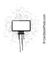 ink splatter and monitor illustration design