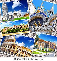 colagem, bonito, Itália, Roma, Florença, Pisa,...
