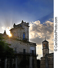 Old havana building at sunset - A view of Old Havana typical...
